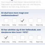 Det eneste interaktive element: Quiz'en, hvor du kan teste, hvor enig du er med Morten. Mange spørgsmål er ledende. God måde for Messerschmidt at engagere sine vælgere og samtidig gøre dem opmærksomme på, hvad han beskæftiger sig med.